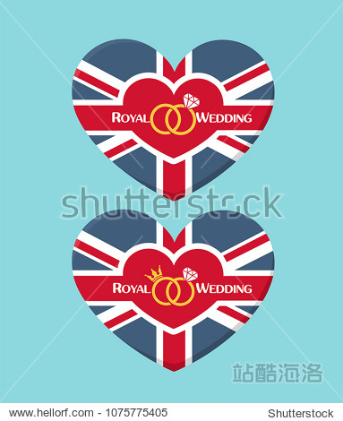 Icon Wedding invitation in the form of a heart textured under the British flag. On the card there is a crown, wedding rings and text: Royal Wedding.