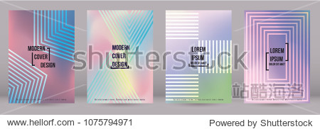 Gradient Cover Design for your Business with Abstract Lines and Holography Background. Futuristic Poster  Flyer  Layout with Liquid Pattern for Branding  Identity. Vector minimalistic brochure. A4 set