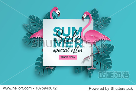 Summer sale banner with paper cut flamingo and tropical leaves background  exotic floral design for banner  flyer  invitation  poster  web site or greeting card. Paper cut style  vector illustration