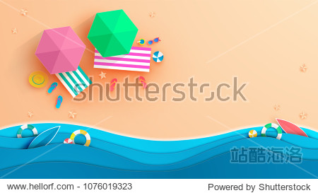 top view beach background with umbrellas balls swim ring sunglasses surfboard  hat sandals juice starfish and sea.