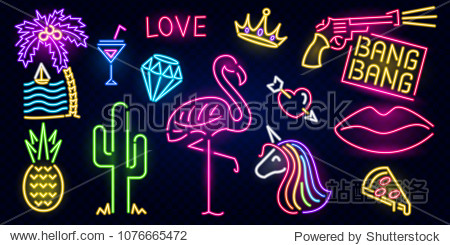 Set of fashion neon sign. Night bright signboard  Glowing light banner. Summer logo  emblem. Club or bar concept on dark background. Editable vector. Pink Flamingo cactus lips pizza cocktail pineapple
