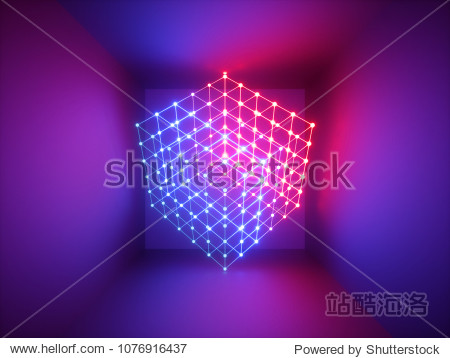 3d render  glowing lines  neon lights  abstract psychedelic background  cube cage  ultraviolet  infrared  spectrum vibrant colors  laser show