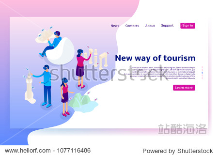Virtual augmented reality tourism concept. Modern Concept of with people exploring interesting places. Vector Illustration with isometric men and women.