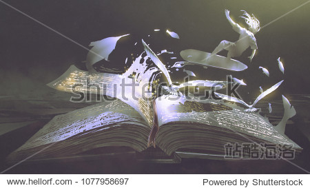 open magic book with surfer  birds and fishes coming out  digital art style  illustration painting