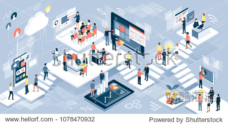 Isometric virtual office with business people working together and mobile devices: business management  online communication and finance concept