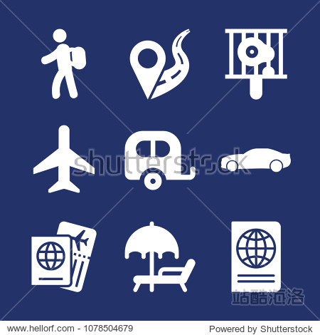 Travel filled vector icon set on navy background