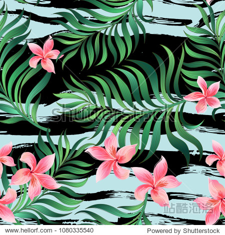 Seamless floral summer pattern with palm leaves and tropical flowers.