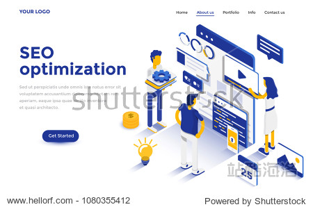 Modern flat design isometric concept of Seo Optimization for website and mobile website. Landing page template. Easy to edit and customize. Vector illustration