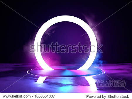 A large glowing neon loop sircle  futuristc background with platform. 3D illustration.