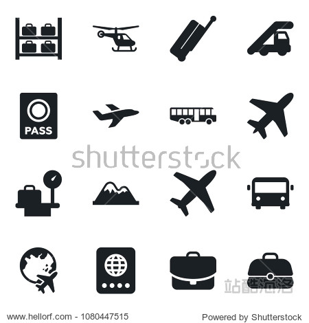 Set of vector isolated black icon - plane vector  suitcase  airport bus  passport  ladder car  helicopter  luggage storage  scales  globe  mountains  case