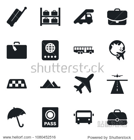 Set of vector isolated black icon - plane vector  runway  taxi  suitcase  airport bus  umbrella  passport  ladder car  luggage storage  globe  mountains  case