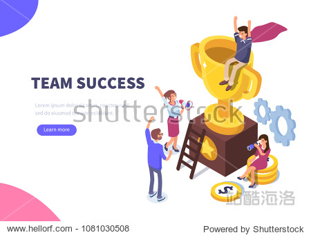 Success concept banner. Can use for web banner  infographics  hero images. Flat isometric vector illustration isolated on white background.