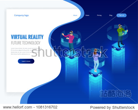 Isometric men and a woman wearing goggle headset with touching vr interface. Into virtual reality world. Future technology.
