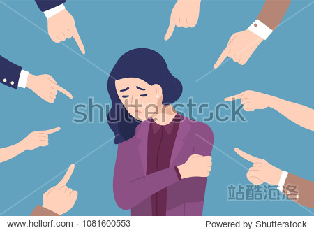 Sad or depressed young woman surrounded by hands with index fingers pointing at her. Concept of quilt  accusation  public censure and victim blaming. Flat cartoon colorful vector illustration.