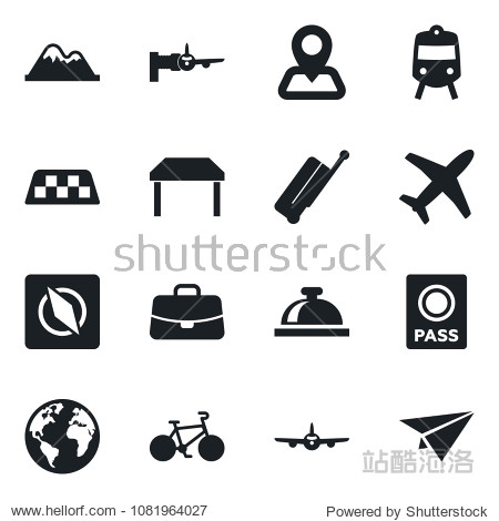 Set of vector isolated black icon - taxi vector  suitcase  train  reception bell  passport  plane  boarding  case  bike  navigation  earth  compass  mountains  table  paper