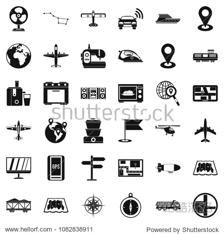 Technology icons set. Simple style of 36 technology icons for web isolated on white background
