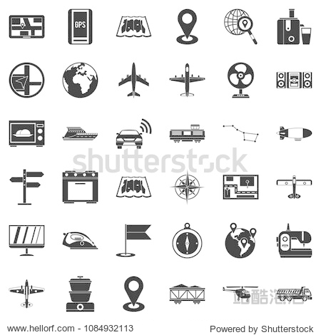 Digital icons set. Simple style of 36 digital icons for web isolated on white background