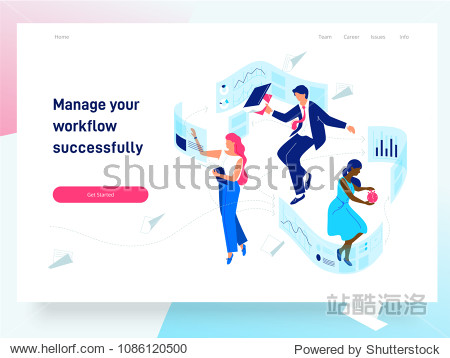 People flying and interacting with graphs and papers. Business and workflow management. Landing page template  vector isometric illustration.