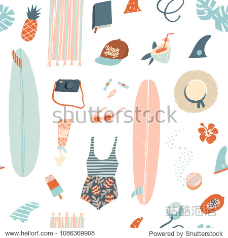 Summer beach objects seamless pattern in vector. Summertime illustration in vector