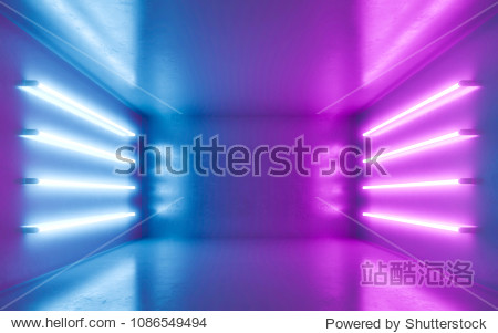 Abstract room interior for backgrtound with blue and violet neon. 3d rendering