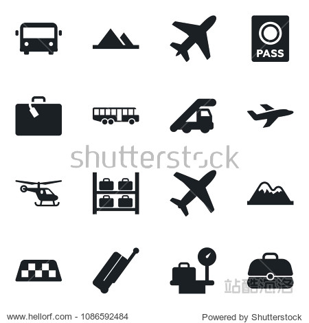 Set of vector isolated black icon - plane vector  taxi  suitcase  airport bus  passport  ladder car  helicopter  luggage storage  scales  mountains  case