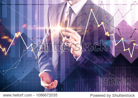 Young businessman drawing creative forex chart on abstract blurry background. Stock market and investment concept. Double exposure