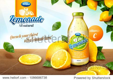 Natural lemonade juice with sliced fruit on wooden table in 3d illustration  orchard frame