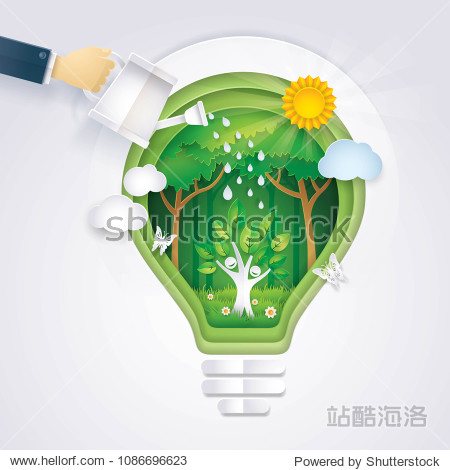 Save the world  Hand of Businessman watering Happy Tree icon Rising in Abstract Light bulb Background  Eco green energy lamp  Ecology  afforest  Convert into forest  Paper art vector and illustration