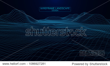 Abstract vector wireframe landscape. Abstract mesh landscapes. Polygonal mountains. Big data. Vector illustration.