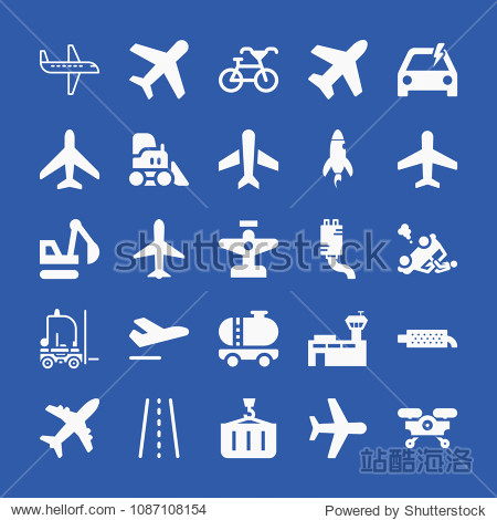 Transport related set of 25 icons such as road with broken lines  problem electric  airplane shape  plane  airplane  departure  aeroplane  basic plane  airport  rocket