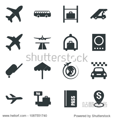 Black vector icon set plane vector  runway  taxi  suitcase  baggage trolley  airport bus  umbrella  passport  ladder car  luggage storage  scales  globe  dollar pin