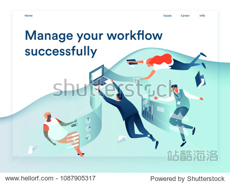 People flying and interacting with graphs and papers. Business and workflow management. Landing page template  3d isometric vector illustration.