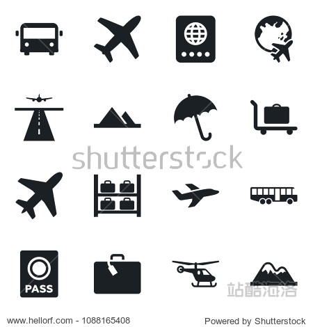 Set of vector isolated black icon - plane vector  runway  suitcase  baggage trolley  airport bus  umbrella  passport  helicopter  luggage storage  globe  mountains