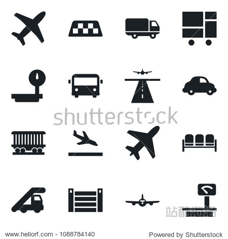 Set of vector isolated black icon - plane vector  runway  taxi  arrival  airport bus  waiting area  ladder car  railroad  delivery  container  consolidated cargo  heavy scales