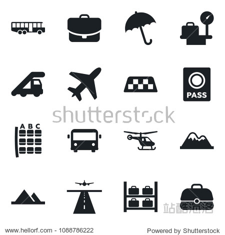Set of vector isolated black icon - plane vector  runway  taxi  airport bus  umbrella  passport  ladder car  helicopter  seat map  luggage storage  scales  mountains  case
