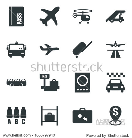 Black vector icon set runway vector  taxi  suitcase  airport bus  passport  ladder car  helicopter  seat map  luggage storage  scales  plane  dollar pin