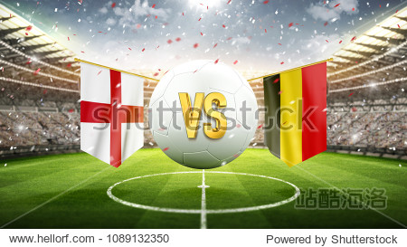 Fifa Cup. England vs Belgium. Soccer concept. White soccer ball with the flag in the stadium  2018. 3d render