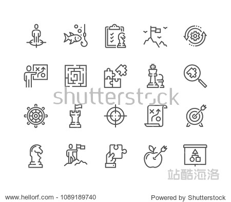 Simple Set of Business Strategy Related Vector Line Icons. Contains such Icons as Target Audience  Research  Plan  Scheme and more. Editable Stroke. 48x48 Pixel Perfect.