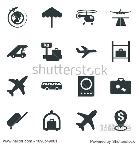 Black vector icon set plane vector  runway  suitcase  baggage trolley  airport bus  umbrella  passport  ladder car  helicopter  luggage storage  scales  globe  dollar pin