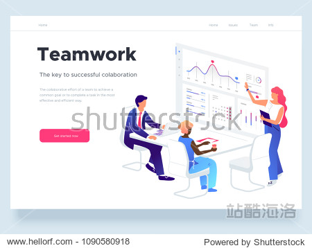 People work in a team and interact with graphs. Business  workflow management and office situations. Landing page template. 3d vector isometric illustration.