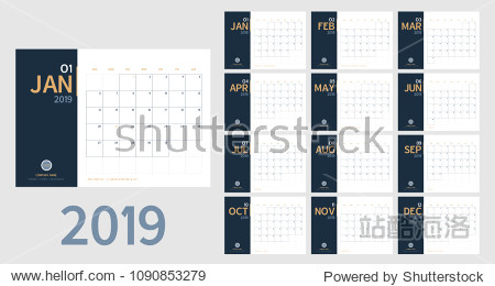 Vector of 2019 new year calendar in clean minimal table simple style and blue and orange yellow color Holiday event planner Week Starts Sunday.include holiday event.A5 size
