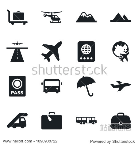 Set of vector isolated black icon - plane vector  runway  suitcase  baggage trolley  airport bus  umbrella  passport  ladder car  helicopter  globe  mountains  case