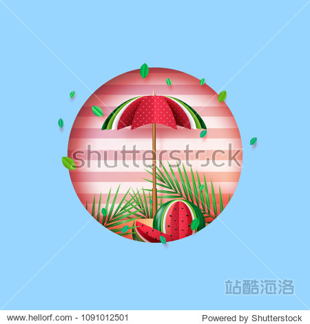 Summer concept with umbrella and watermelon paper art style.Vector illustration.
