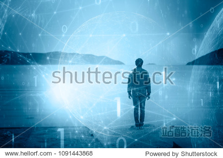 Man on beach with futuristic cyberspace network background.