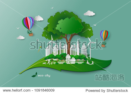 Save the environment conservation ecology concept family happy and relax with green nature white paper art building on leaf shape abstract background vector illustration