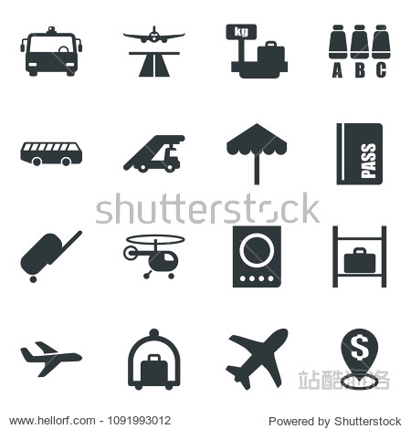 Black vector icon set runway vector  suitcase  baggage trolley  airport bus  umbrella  passport  ladder car  helicopter  seat map  luggage storage  scales  plane  dollar pin