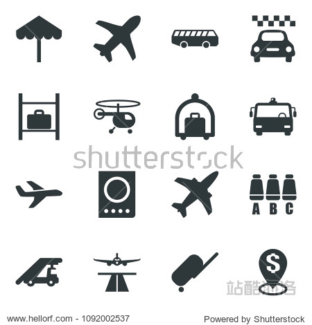 Black vector icon set plane vector  runway  taxi  suitcase  baggage trolley  airport bus  umbrella  passport  ladder car  helicopter  seat map  luggage storage  dollar pin