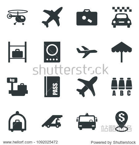 Black vector icon set plane vector  taxi  suitcase  baggage trolley  airport bus  umbrella  passport  ladder car  helicopter  seat map  luggage storage  scales  dollar pin