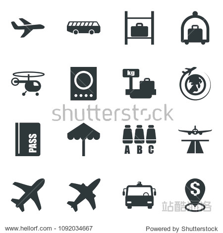 Black vector icon set plane vector  runway  baggage trolley  airport bus  umbrella  passport  helicopter  seat map  luggage storage  scales  globe  dollar pin