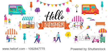 Summer fest  food street fair  family festival poster and banner colorful design